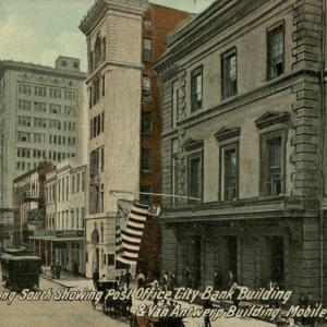 Royal St. Looking South Showing Post Office, City Bank Building & Van Antwerp Building, Mobile, Ala.