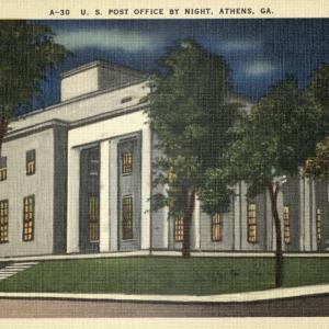 Athens, GA, US Post Office at night