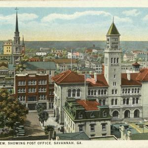 Savannah, GA, Bird's Eye View Showing Post Office